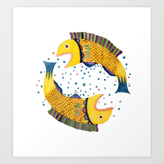 swimming circle Art Print