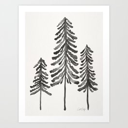 Pine Trees – Black Ink Art Print