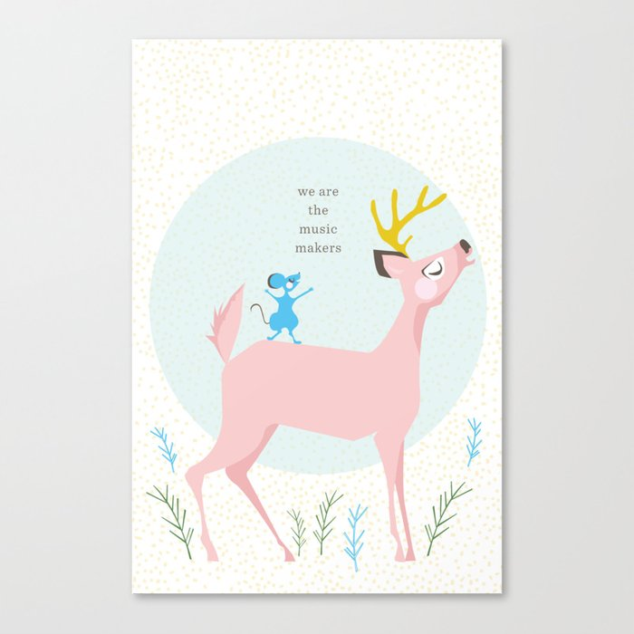 Deer and Mouse Singing Canvas Print