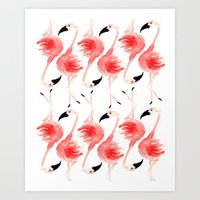 flamingos Art Prints featuring Flamingos! by Bouffants and Broken Hearts