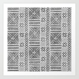 Line Mud Cloth // Light Grey Art Print