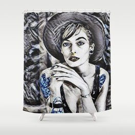 Every Girl and Her Thoughts Portrait Shower Curtain