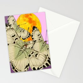 GOLDEN MOON MOTHS ON PUCE & PINK Stationery Cards