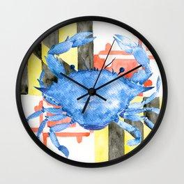 Watercolor Maryland Flag and Blue Crab Wall Clock