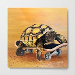 Skateboard Turtle Metal Print