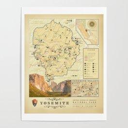 "California's ""Yosemite Nat'l Park"" Vintage Area Map Poster"