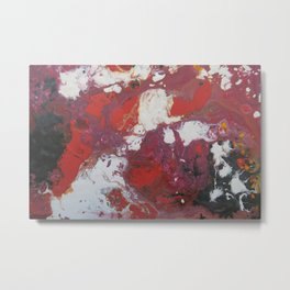 Marble | Black Red and Gold Metal Print