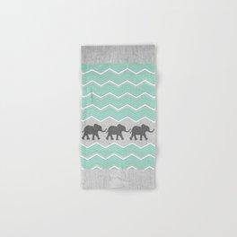 Three Elephants - Teal and White Chevron on Grey Hand & Bath Towel