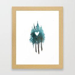 Forest Love - heart cutout watercolor artwork Framed Art Print