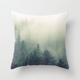 My Peacful Misty Forest Throw Pillow