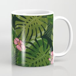 Green Leaves Pink Flowers Coffee Mug
