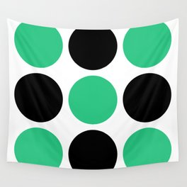 Mid Century Modern Polka Dot Pattern 9 Black and Green Wall Tapestry