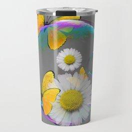 YELLOW BUTTERFLIES  DAISIES & SOAP BUBBLES GREY COLOR Travel Mug