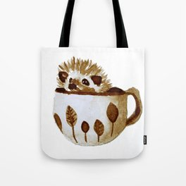 Hedgehog in a Cup Painted with Coffee Tote Bag