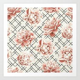 Simply Mod Diamond Roses in Cream and Black Art Print