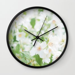 Lush White and Green Flowers Wall Clock