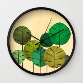 GREEN AUTUMN TREES Wall Clock