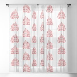 Red Scandinavian Folk Art Christmas Tree Sheer Curtain