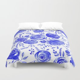 Blue Roses Pattern Duvet Cover