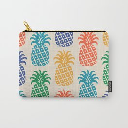 Retro Mid Century Modern Pineapple Pattern in Multi Colors Carry-All Pouch