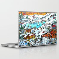 ski Laptop & iPad Skins featuring Penguin Ski by Phil Fung