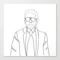 karl lagerfeld Canvas Prints featuring Karl Lagerfeld portrait by Chiara Rigoni