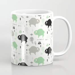 Seamless pattern with cute baby buffaloes and native American symbols, white Coffee Mug