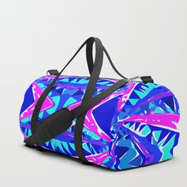 psychedelic geometric abstract pattern background in blue pink purple Duffle Bag