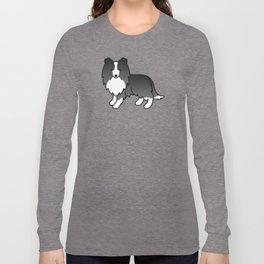 Bi-Black Shetland Sheepdog Dog Cartoon Illustration Long Sleeve T-shirt