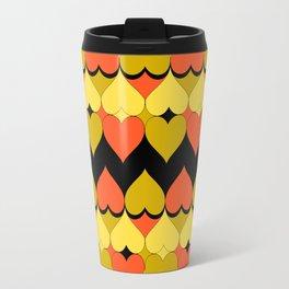 Multi Hearts Chartreuse Tangerine Black Travel Mug