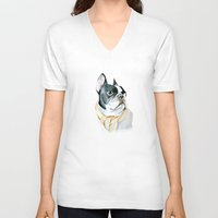 french bulldog V-neck T-shirts featuring French Bulldog by Dr.Söd