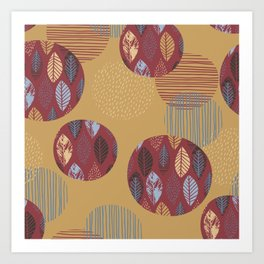 Geometrical brown blue burgundy hand painted autumn leaves Art Print