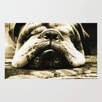 bulldog Area & Throw Rugs featuring Bulldog by Urlaub Photography