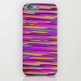 Horizontal vivid curved stripes with imitation of the bark of a violet tree trunk. iPhone Case