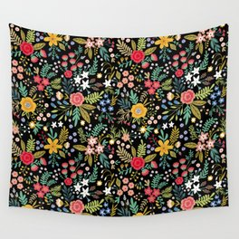 Amazing floral pattern with bright colorful flowers, plants, branches and berries on a black backgro Wall Tapestry