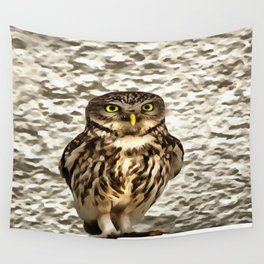 Small Owl In Camouflage Wall Tapestry
