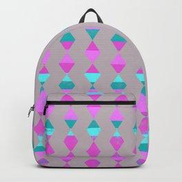 Pink & Aqua Diamonds on Taupe Backpack