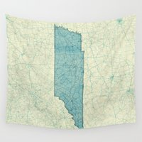 tennessee Wall Tapestries featuring Tennessee State Map Blue Vintage by City Art Posters