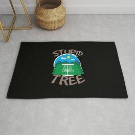Disc Golf - Stupid Tree - Funny Disc Golfer Gift Rug