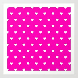 HEARTS ((white on hot pink)) Art Print