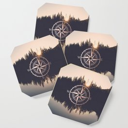 Rose Gold Compass Forest Coaster