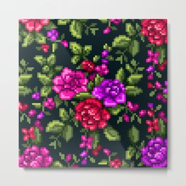 Pixel Floral - Pink on Black Metal Print