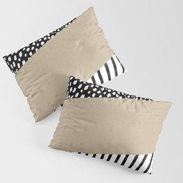 Polka Dots and Stripes Pattern (black/white/tan) Pillow Sham