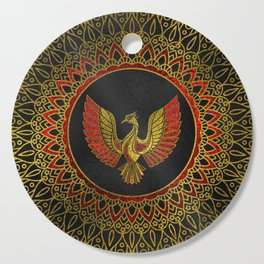 Gold and red Decorated Phoenix bird symbol Cutting Board