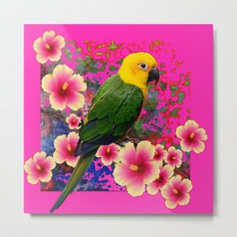 YELLOW HEADED GREEN PARROT PINK HIBISCUS  FUCHSIAFLORAL Metal Print