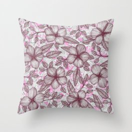 Spring Blossom in Marsala, Pink & Plum Throw Pillow