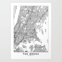 The Bronx White Map Art Print