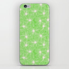 02 White Flowers on Green iPhone Skin