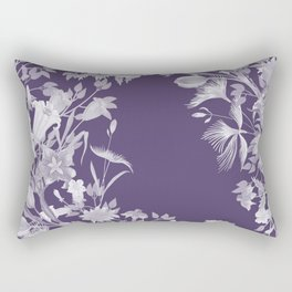 Stardust Violet Indigo Floral Motif Rectangular Pillow