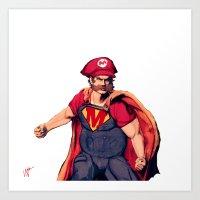 super mario Art Prints featuring Super Mario by Mastodon
